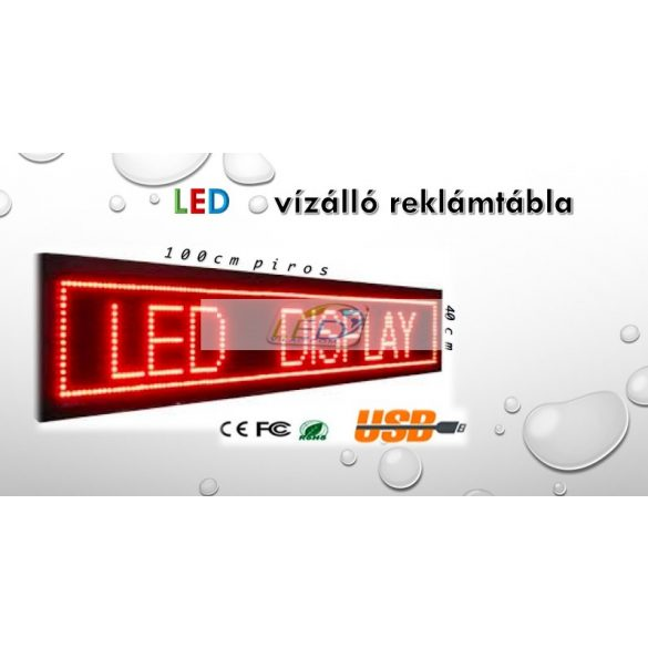 FÉNYÚJSÁG PIROS 100cm x 40cm EGYSZÍNŰ LED REKLÁMTÁBLA KÜLTÉRI KIVITEL LEDbox