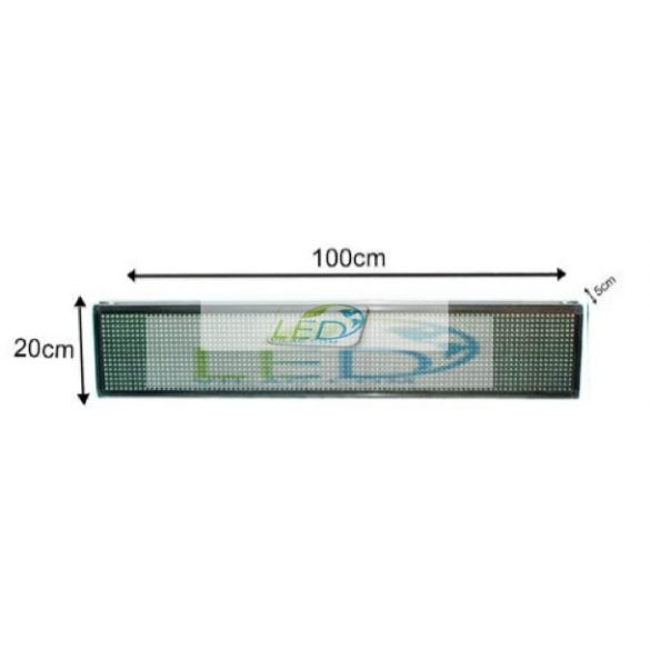 FÉNYÚJSÁG EGYSZÍNŰ PIROS 100cm x 20cm  LED REKLÁMTÁBLA BELTÉRI KIVITEL LEDbox WIFI vezérléssel