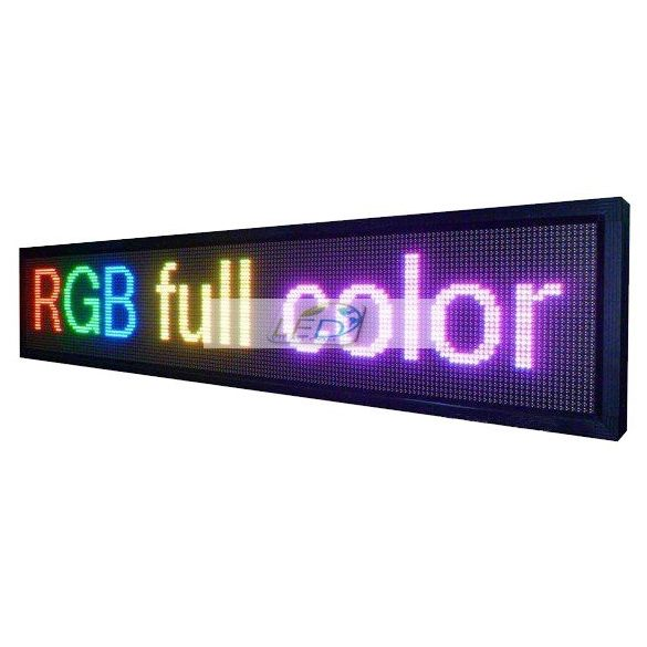 FÉNYÚJSÁG SZÍNES 295cm x 80cm RGB LED REKLÁMTÁBLA KÜLTÉRI KIVITEL LEDbox